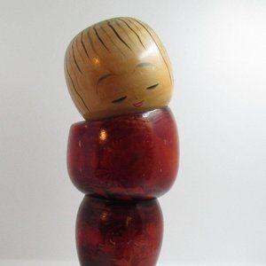 Big red Japanese kokeshi doll/ kokeshi doll/ set k